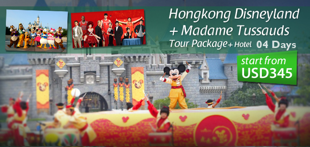 Hongkong Disneyland + Madame Tussauds Tour Package+ Hotel